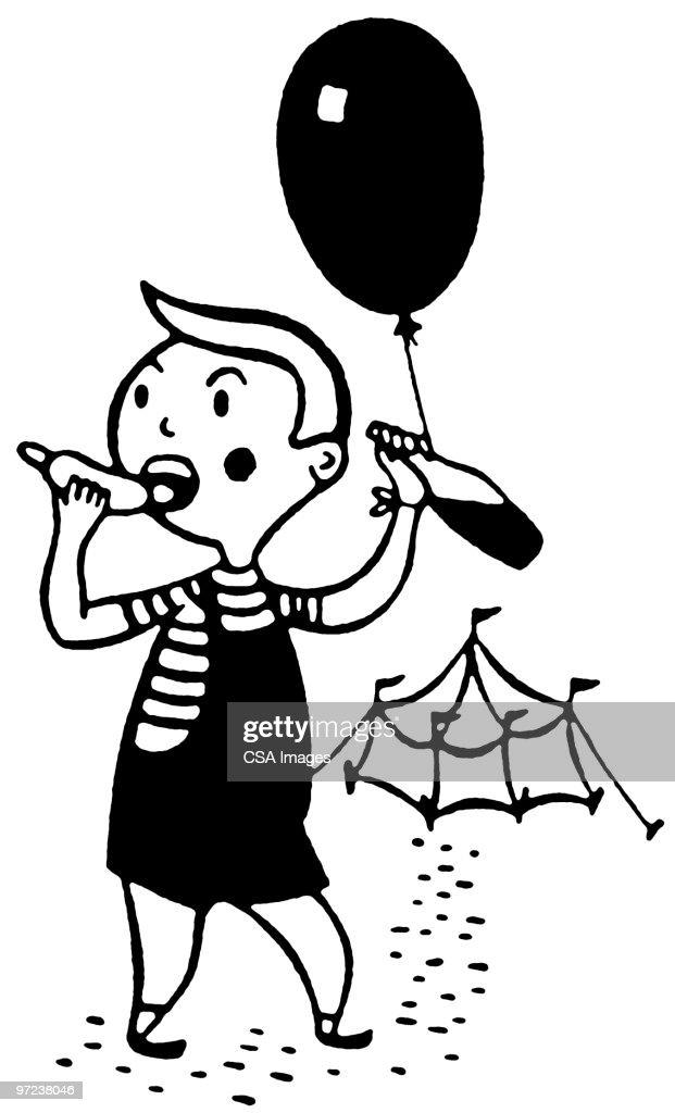 boy Leaving circus Tent : Stock Illustration