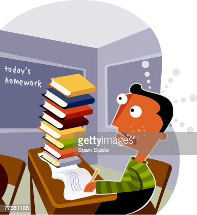 A boy looking at a big stack of homework on his desk : Stock Illustration