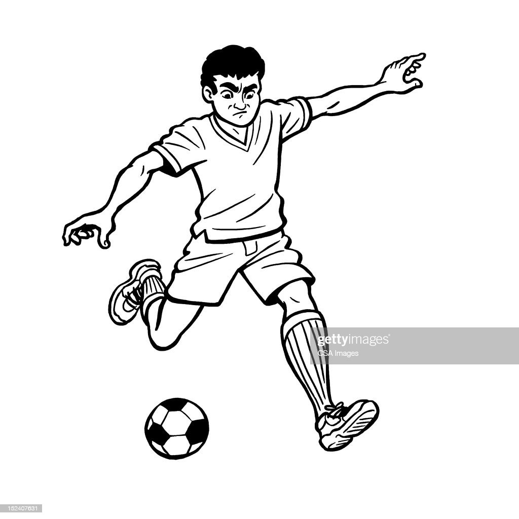 Boy Playing Soccer : Stock Illustration