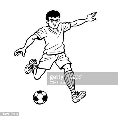 Boy Playing Soccer : Stock Illustration