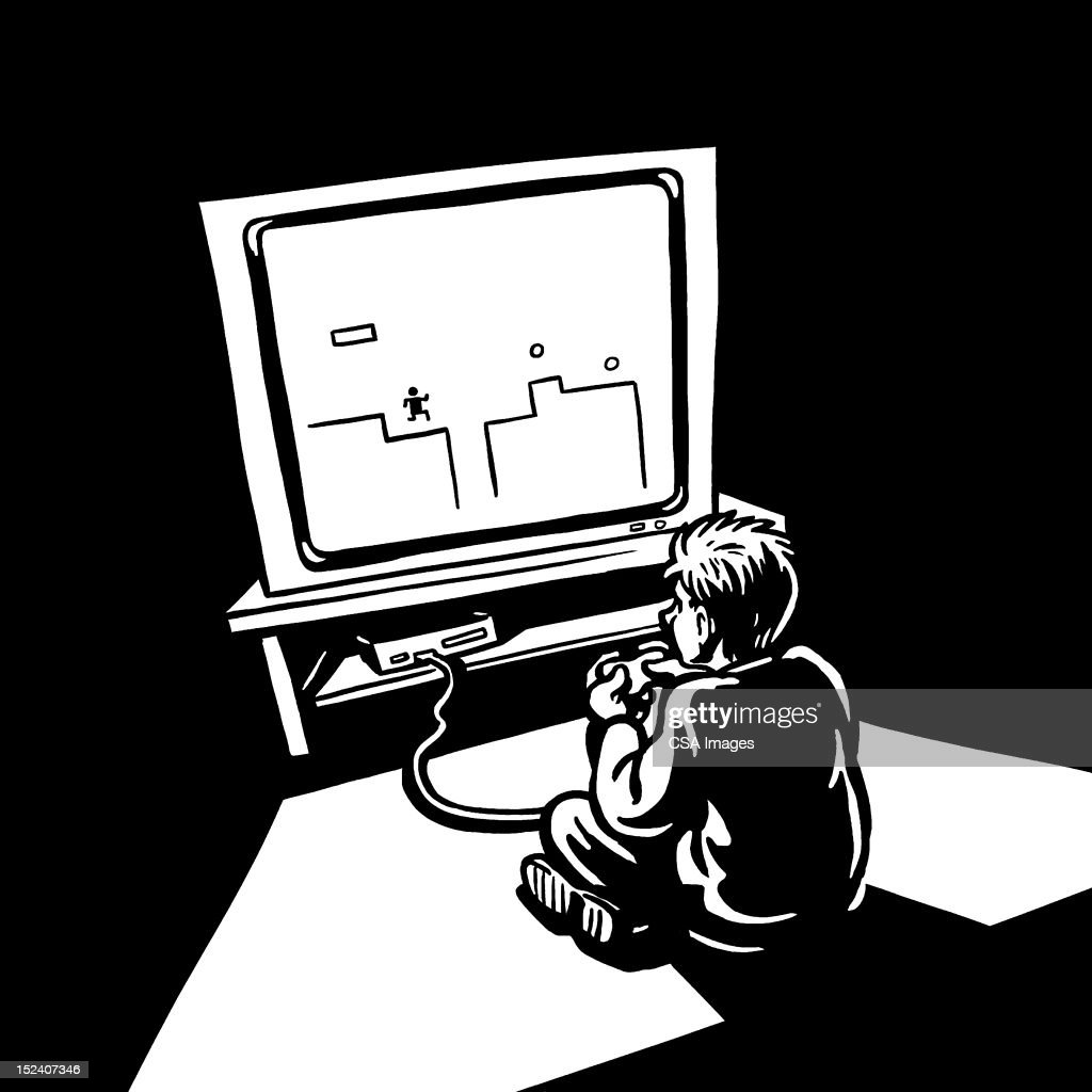 Boy Playing Video Game : Stock Illustration