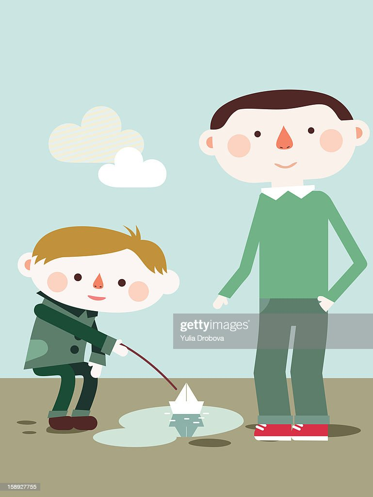 A boy playing with a boat in a puddle : Stock Illustration