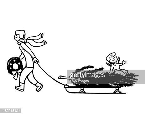 Boy Pulling a Sled : Stock Illustration