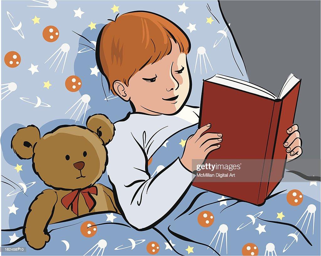 Boy reading book to teddy bear : Vector Art