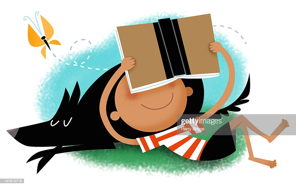 Boy reading resting on dog with a butterfly. : Stock Illustration