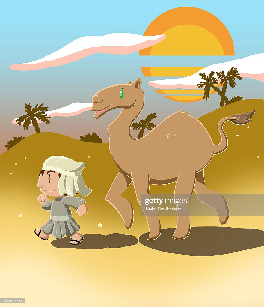 A boy walking with a camel in the desert : Stock Illustration