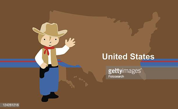 Boy wearing a cowboy outfit in front of the map of USA
