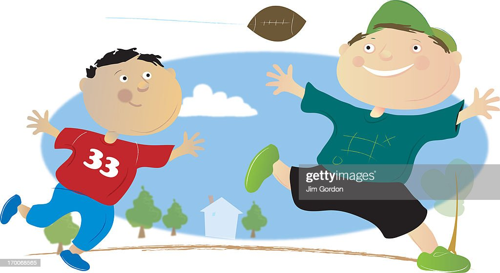 Boys playing football : Stock Illustration