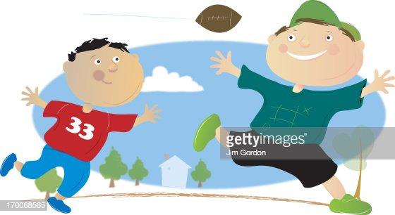 Boys playing football : Stock Illustration