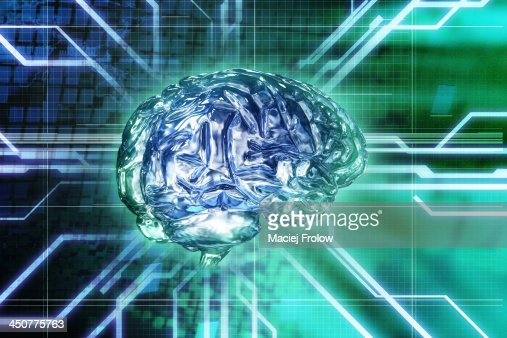 Brain made of glass and circuit board : Stock Illustration