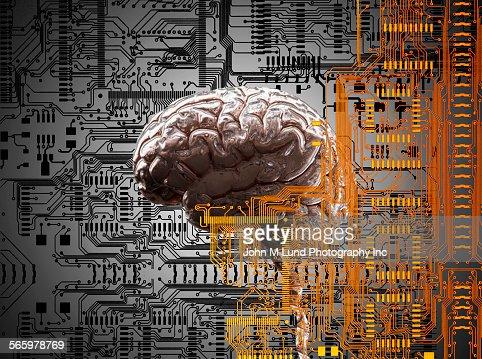 Brain under layers of circuit board,  : Stock Illustration