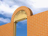 Brick arch above doorway in brick wall