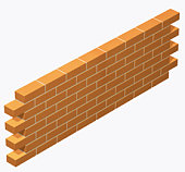 Brick wall built in stretcher bond Bricklaying pattern