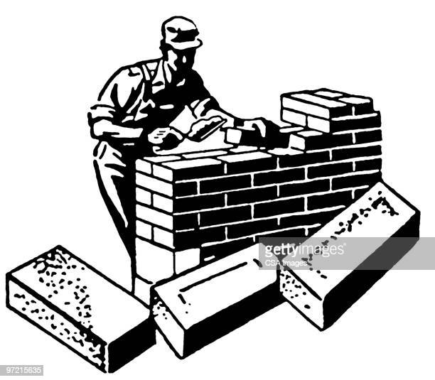 Masonry Trowel Sillouhette : Bricklayer stock illustrations and cartoons getty images