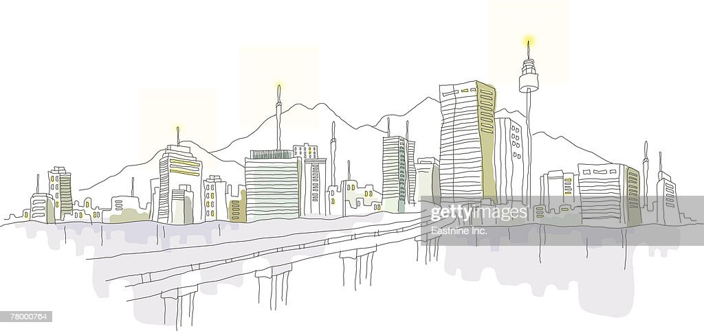 Bridge leading to a city : Vector Art