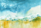 Bright Seaside Watercolor Background. Light blue, Deep Navy, Orange Yellow Colourful Impression. Hot Summer Vibes. Sea, sand, wave