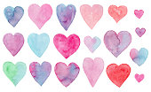 Beautiful collection of cute vibrant watercolor hearts for Valentines day greeting cards and banners design. Cute hand drawn pink, blue, purple, green heart illustration for romantic decoration