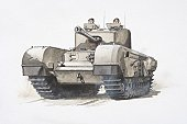 British Churchill army tank driven by two soldiers, front view.