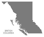 British Columbia Canada Map in grey