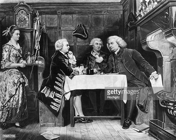 British lexicographer and writer Dr Samuel Johnson with his Scottish biographer James Boswell and the Irish playwright novelist and poet Oliver...