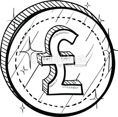 British Pounds Sterling Symbol On Coin Sketch Vector Art Thinkstock