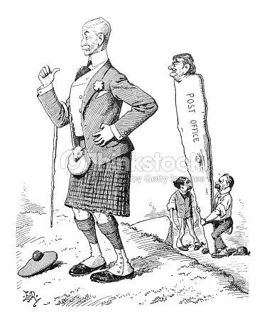 British Satire Comic Cartoon Illustrations Men Moving Post Office