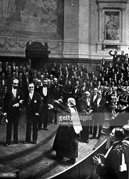 British surgeon Joseph Lister with Louis Pasteur receiveing honours from the Sorbonne in Paris