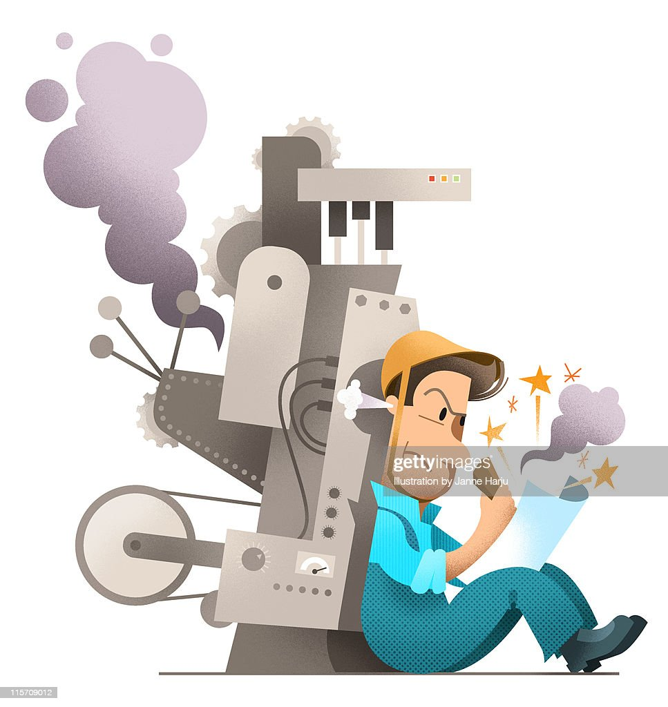 Broken machine man writing an angry letter : Stock Illustration