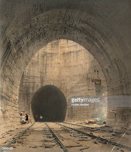 Broken sleepers and pieces of stone on the track in the great ventilation shaft at Kilsby Tunnel built by Robert Stephenson for the London and...
