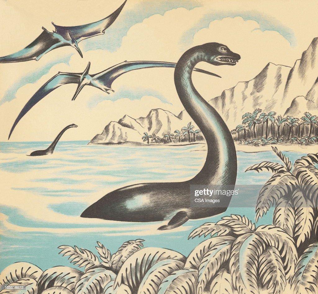 Brontosaurus and Pterodactyl : Stock Illustration