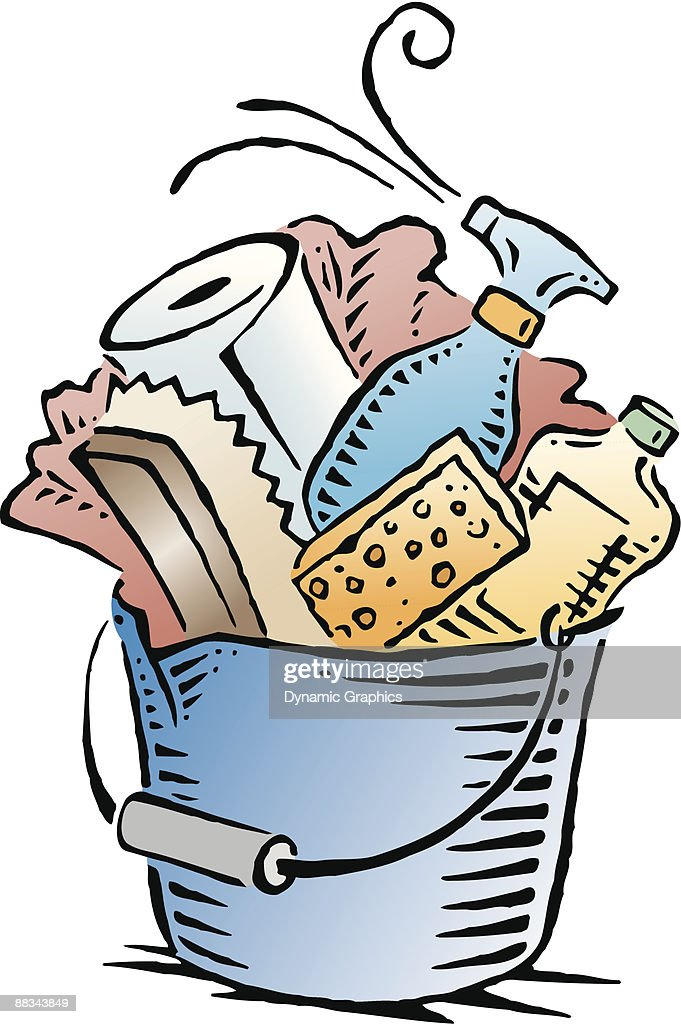 bucket filled with cleaning supplies color vector art thinkstock rh thinkstockphotos com cleaning supplies clipart free