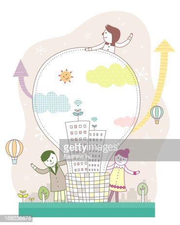 Bulb and the people : Stock Illustration