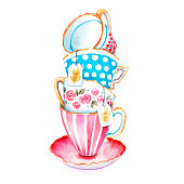 Bunch of tea cups in the on a saucer. Watercolor painting. The clip-art tea cups to design menus or postcards. Watercolor illustrations in the style of the country. Isolated on white background. Hand