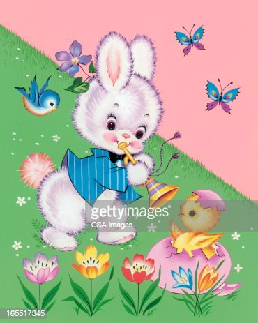 Bunny Playing a Horn : Stock Illustration