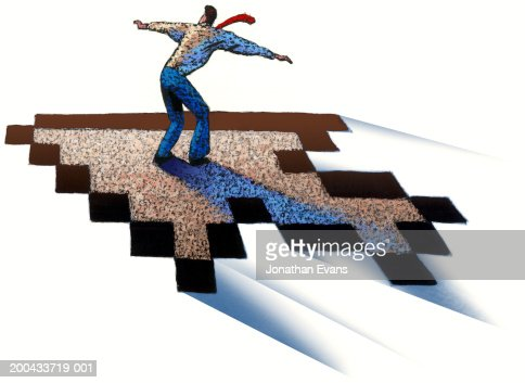 Business man surfing on computer cursor, rear view : Stock Illustration