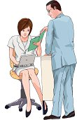 Business man teaching business woman, Illustration
