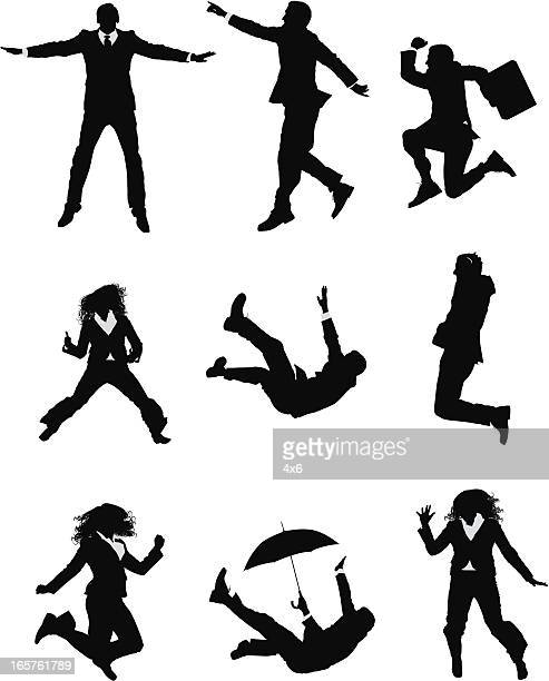 Business people jumping and falling