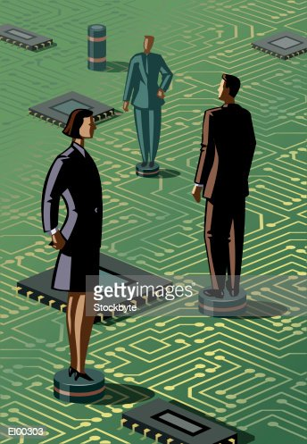 Business people on circuit gameboard : Stock Illustration