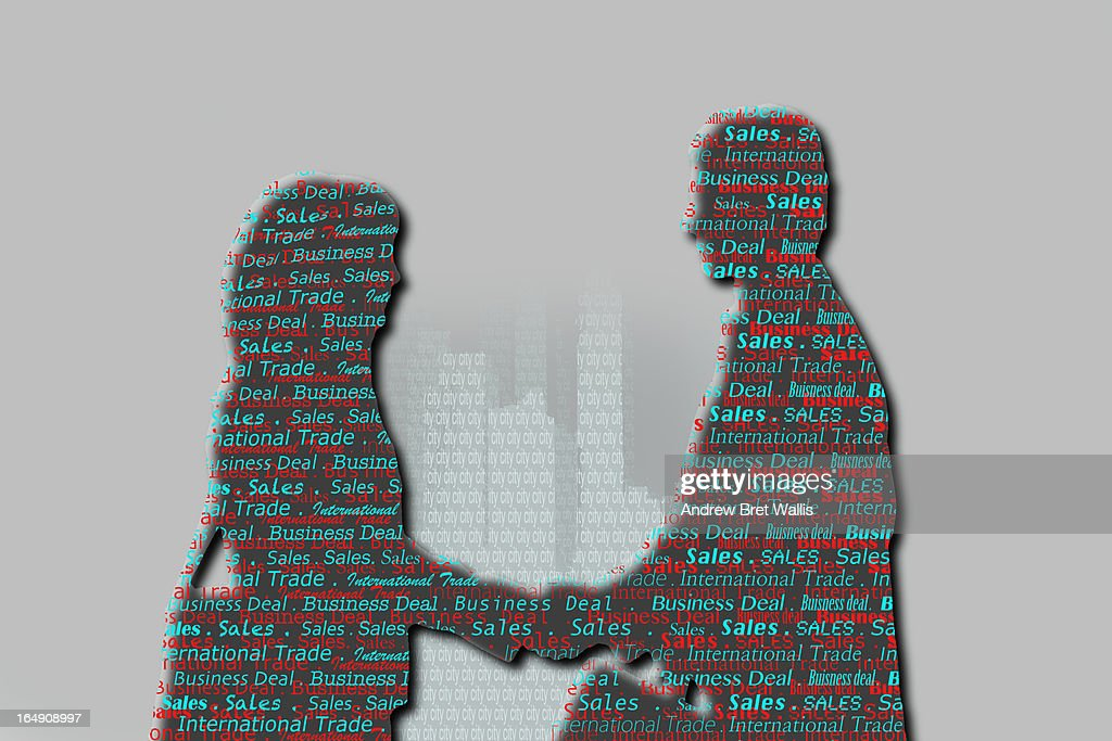 Business people shake hands against city skyline : Stock Illustration