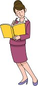 Business Woman Who is Looking at a Notebook, Illustrative Technique