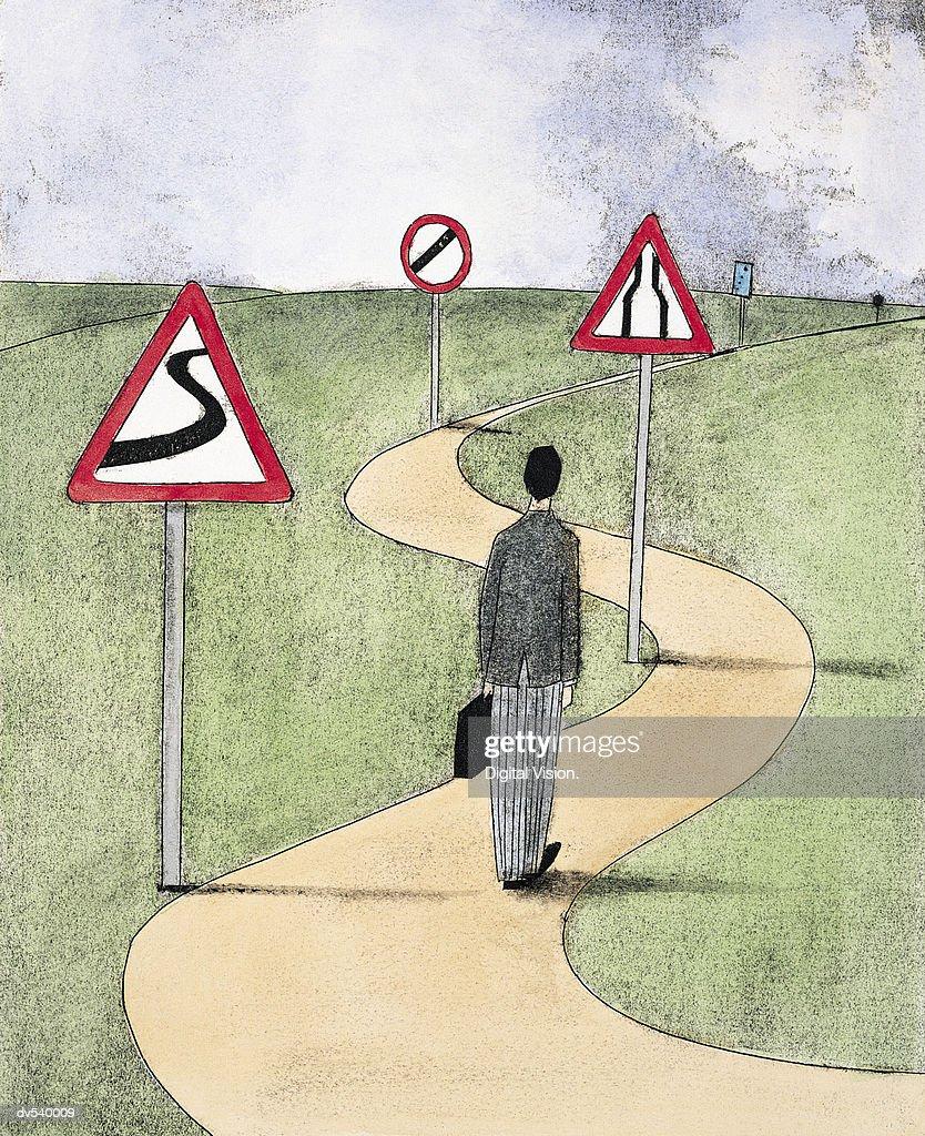 Businessman at crossroads : Stock Illustration
