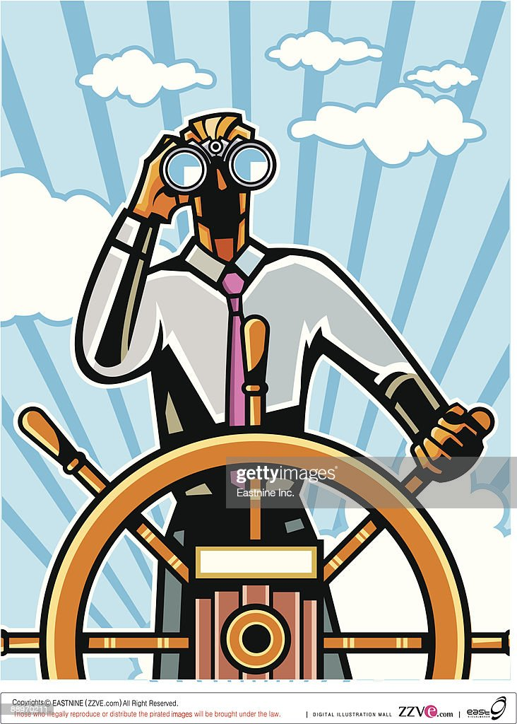 Businessman at helm with binocular : Vector Art