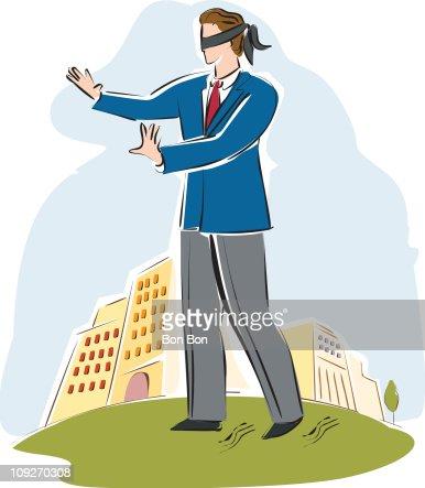 A businessman blindfolded : Stock Illustration