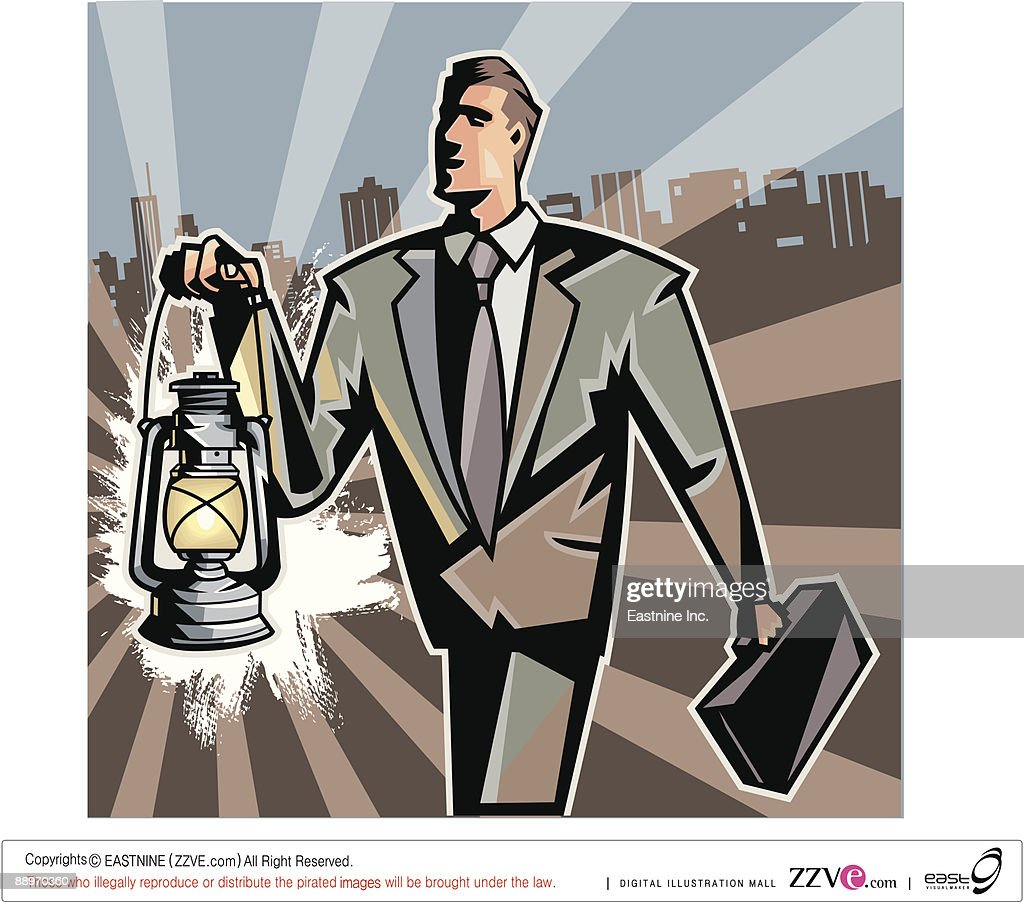 Businessman carrying lantern and suitcase : Vector Art