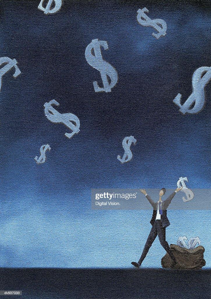 Businessman catching dollar signs : Stock Illustration