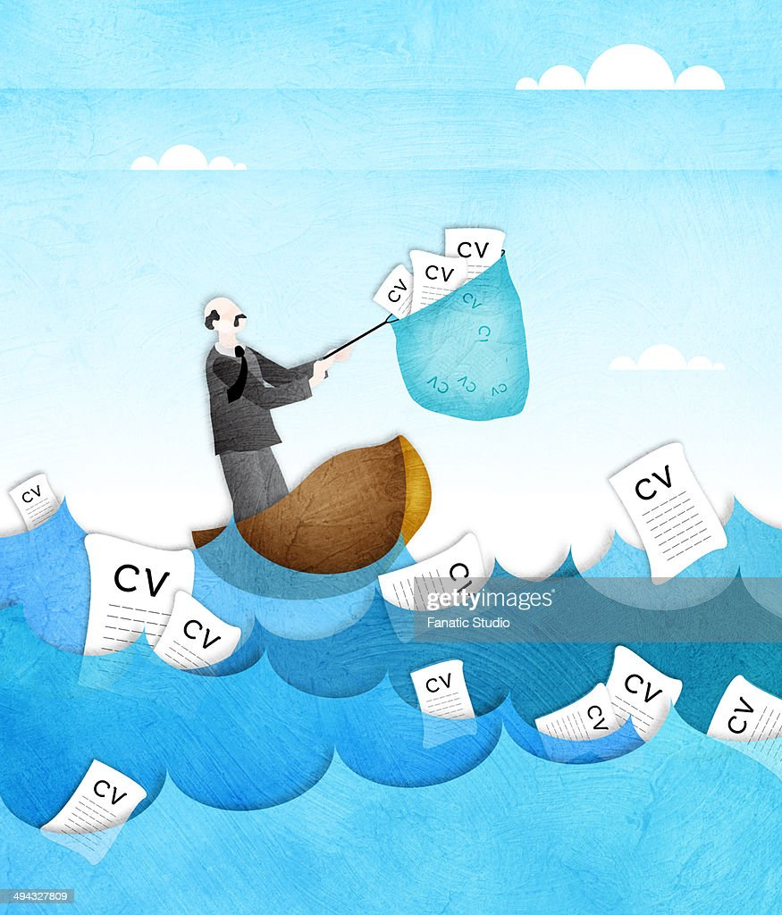Businessman catching resume from the sea with a fishing net : Stock Illustration
