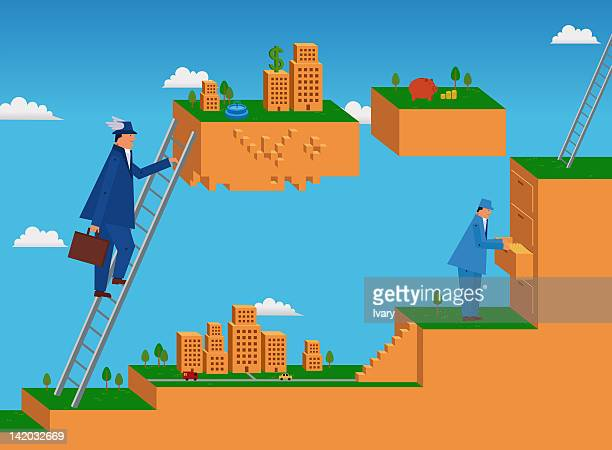 Businessman Climbing On Upward Ladder