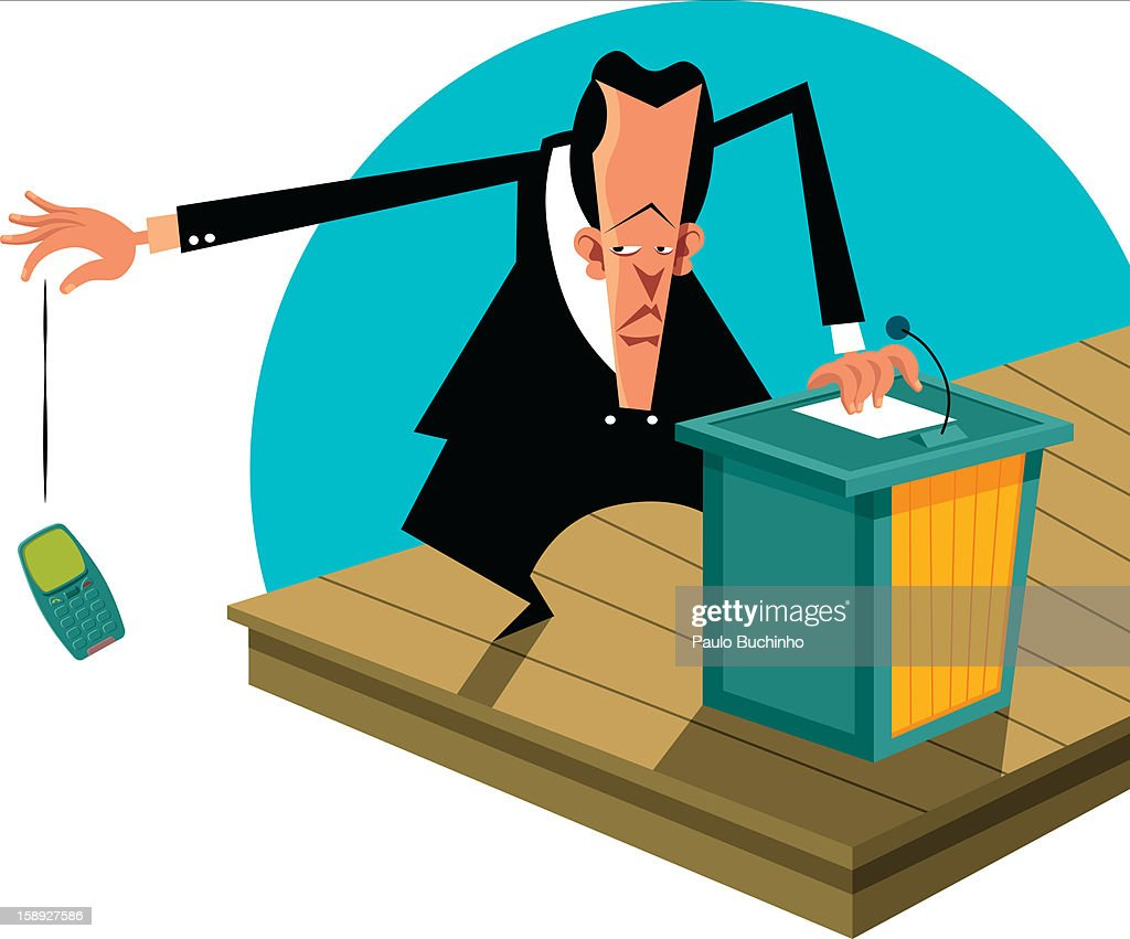 A businessman dropping his cell phone while standing at a podium : Stock Illustration