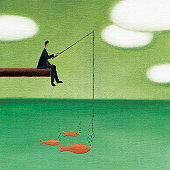 Businessman fishing