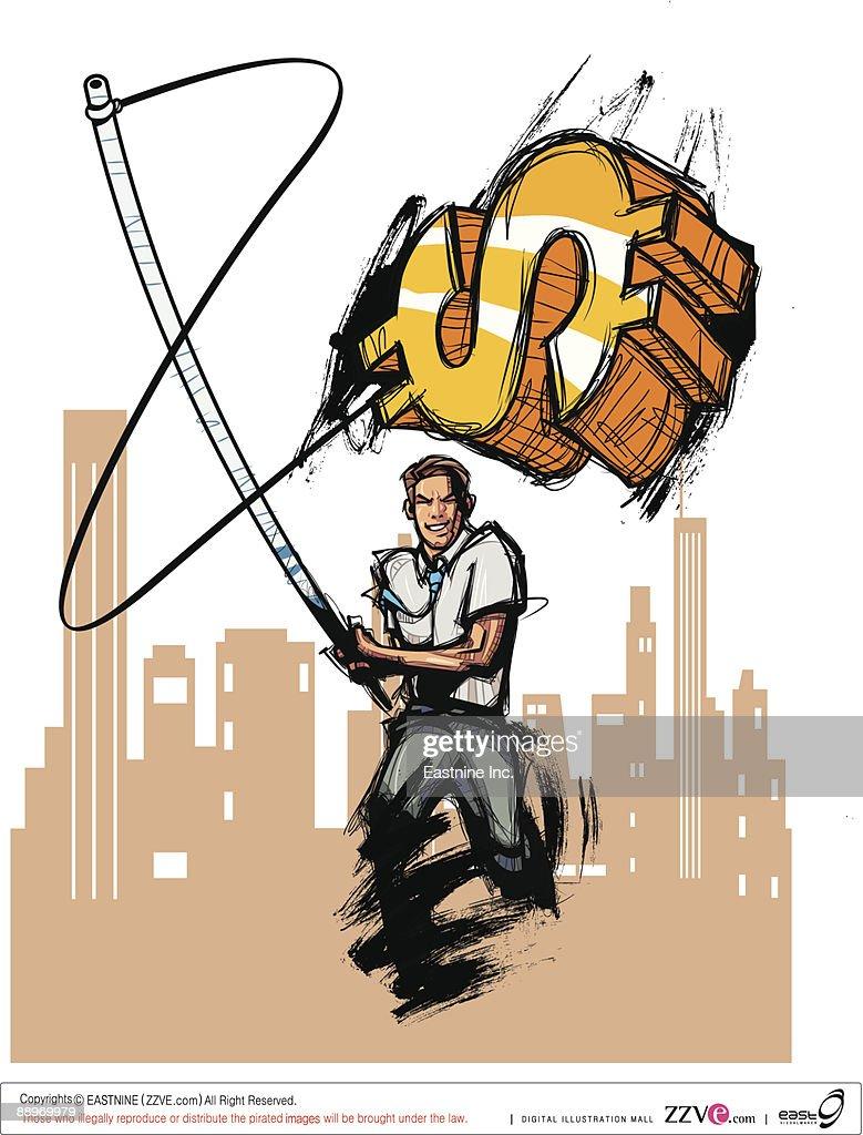Businessman holding dollar symbol with fishing rod : Vector Art